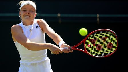 Harriet Dart in action on day four of the Wimbledon Championships at the All England Lawn Tennis and