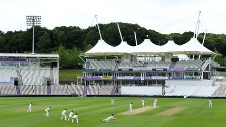 A general view of play during day three of England's inter-squad warm-up match at the Ageas Bowl