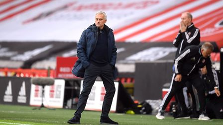 Tottenham Hotspur manager Jose Mourinho on the touchline during the Premier League match at Bramall