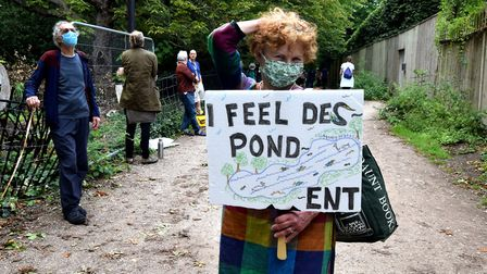 Regular Kenwood Ladies' Pond swimmer Barbara Massey at a socially-distanced protest against charging