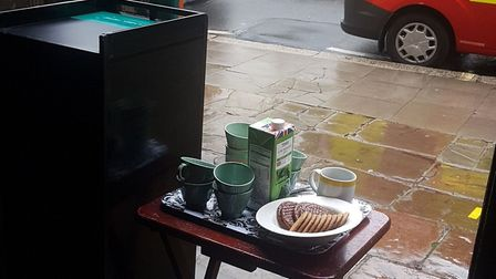 Tea, coffee and chocolate biscuits given to firefighters by Heath Street Church after they tackled t