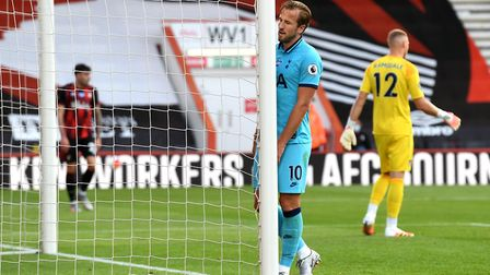 Tottenham Hotspur's Harry Kane reacts after a missed chance during the Premier League match at Vital
