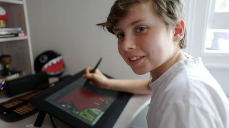 Frankie Chainey, 12, has spent his lockdown drawing and desiging cartoon characters. Picture: Bear D