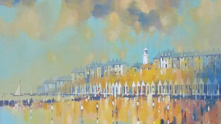 A painting of Southwold Beach by John Dawkins.