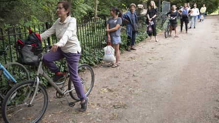 Women arriving to test swimming with social distancing in place on Hampstead Heath. Picture: Sarah S