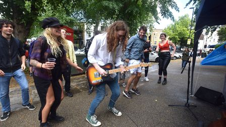 Dancing to the band outside 10a on 27.06.20.A scaled down Highgate Festival with local musicians Wi