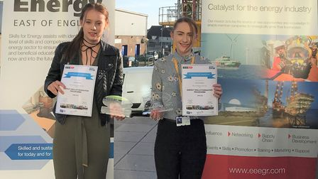 Energy Skills Foundation Programme Students of the Year Jodie Brand, left, and Jasmine Allen, right,