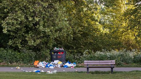 Hackney Marshes has seen increased rubbish during the coronavirus lockdown. Picture: Marcus Bastel