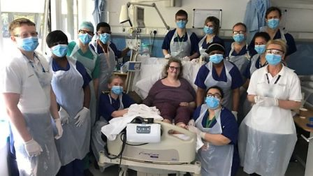 The first coronavirus intensive care patient, Annemarie Horgie, 55, was discharged from Homerton Hos
