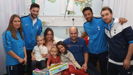 Schillaci, Lloris, Dembele and Eriksen meet young patients Noah, Isobel and Jemima. Picture: Tottenh