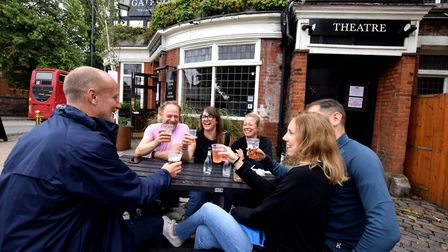 Customers outside The Gatehouse in Highgate Village. Picture: Polly Hancock