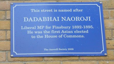 A plaque in Naoroji Street, Clerkenwell, named after the late MP. Picture: Ocifant/CC Search