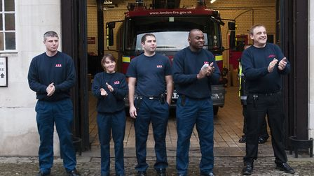 Firefighters leave Belsize Fire Station for the last time. Picture: Nigel Sutton.