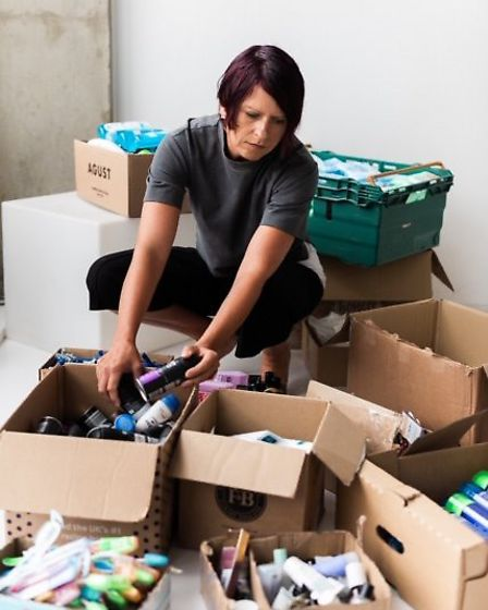Claudia Stachelhaus sorts toiletry donations. Picture: Toiletries For The Streets