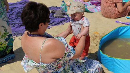 Harrison Fuller has fun in the sun with ECCH Family Nurse Lisa Page Pictures: East Coast Community H