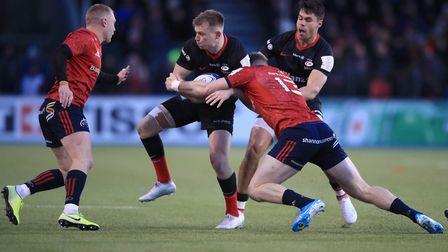 Saracens' Nick Tompkins attacks against Munster during the European Rugby Champions Cup pool four ma