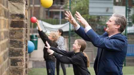 Holborn and St Pancras' MP joining in a games lesson during a visit to Torriano School in Kentish To