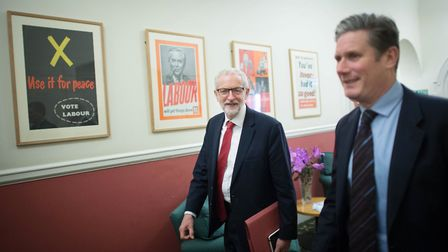Mr Starmer with his predecessor as Labour leader, Jeremy Corbyn. Picture: Stefan Rousseau/PA