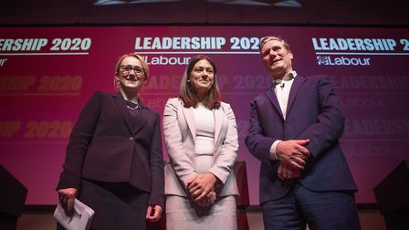 A leadership hustings in February. Since his election victory, Mr Starmer has made Lisa Nandy (centr