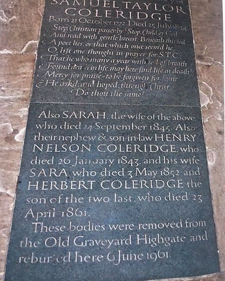 A slab in St Michael's Church, Highgate, inscribed with words by the poet, Samuel Taylor Coleridge.