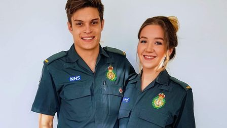 Stephanie Little and Thomas Martin held their rehearsal over Zoom. Picture: London Ambulance Service