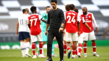 Arsenal manager Mikel Arteta appears dejected after the final whistle