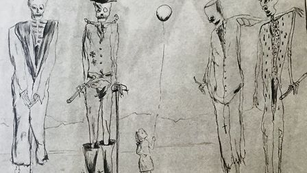 Fred Ulhman's Captivity drawing, featuring' the girl with the balloon' inspired by his then-newborn