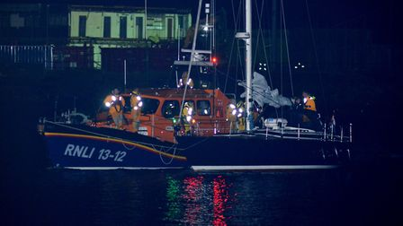 The Lowestoft RNLI relief Lifeboat brings the stranded Dutch yacht safely into port. Picture: RNLI/M