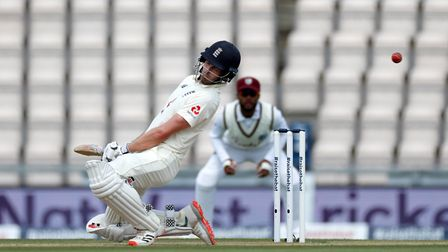 England's Dom Sibley avoids a bouncer during day four of the first Test at the Ageas Bowl