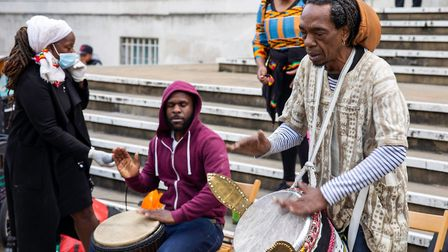 The protest included live music from Hackney drummers. Picture: Andy Commons