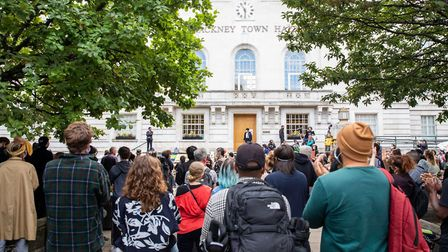Hundreds of people attended the protest at Hackney Town Hall. Picture: Andy Commons