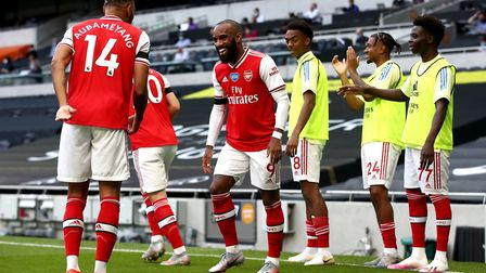 Arsenal's Alexandre Lacazette (right) celebrates scoring his goal with team-mate Pierre-Emerick Auba