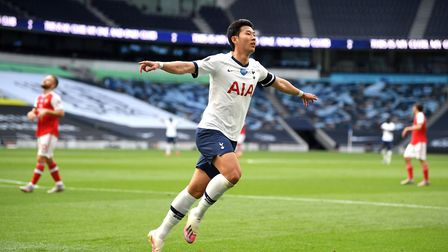 Tottenham Hotspur's Son Heung-min celebrates scoring his goal during the Premier League match at Tot