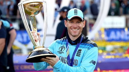 England's Eoin Morgan celebrates with the trophy after the 2019 ICC World Cup Final at Lord's