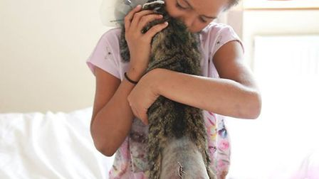 Pumpkin get a cuddle from her best friend eight-year-old Kaitlyn. Photo: Evelyn Rayer.