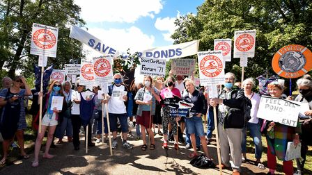 Protesterson Parliament Hill as part of the Save Our Ponds campaign on Sunday July 26. Picture: Poll