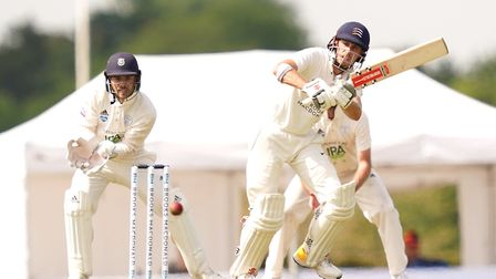 Middlesex's John Simpson (right) in action during day one of The Bob Willis Trophy match at Radlett