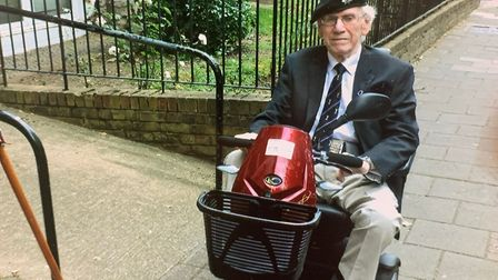 Stamford Hill resident Leon Newmark, 82, with his new mobility scooter.
