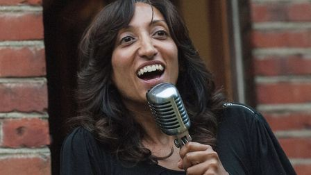 Shazia Mirza performs at a Hornsey and Wood Green Amnesty Group summer music night and party in 201