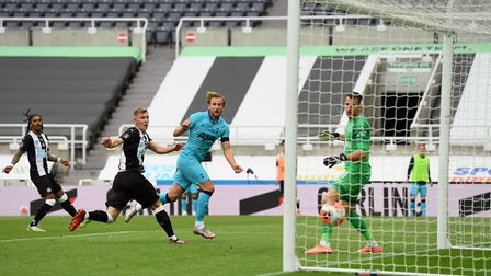 Tottenham's Harry Kane scores his side's second goal at Newcastle