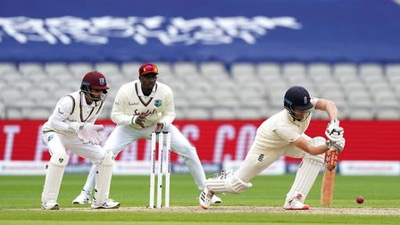 England's Dom Sibley bats during day one of the Second Test at Emirates Old Trafford