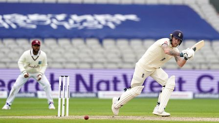 England's Ben Stokes bats during day one of the Second Test at Emirates Old Trafford