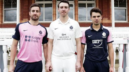 Stevie Eskinazi, Toby Roland-Jones and Max Holden model the new Middlesex kit (pic Middlesex CC)