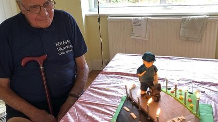 Kenneth with his 100th birthday cake. Picture: Kenneth Essex family