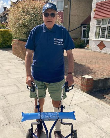 Kenneth Essex, 99, is walking 1km per day for Moorfields Eye Hospital, where he receives treatment f