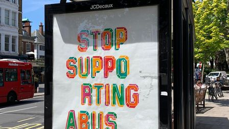 A West Hampstead bus stop of Mr Eine's design which was also defaced. Picture: Jill Henry