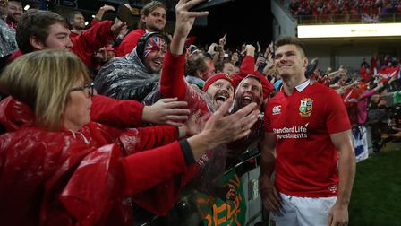 British and Irish Lions' Owen Farrell with fans after the third test of the 2017 tour of New Zealand