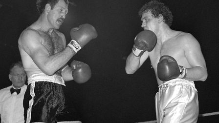 John L. Gardner (right) in action against Paul Sykes during their 15-round British Championship bout