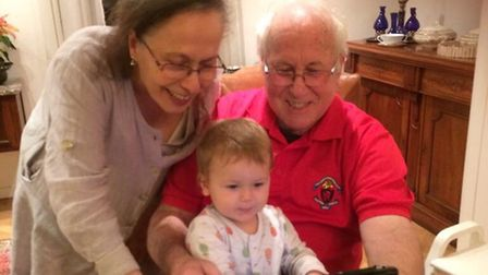 Michael and Mili with their youngest grandchild. Picture: Rivka Gottlieb