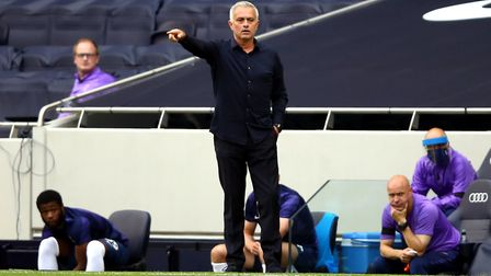 Tottenham Hotspur manager Jose Mourinho instructs his players
